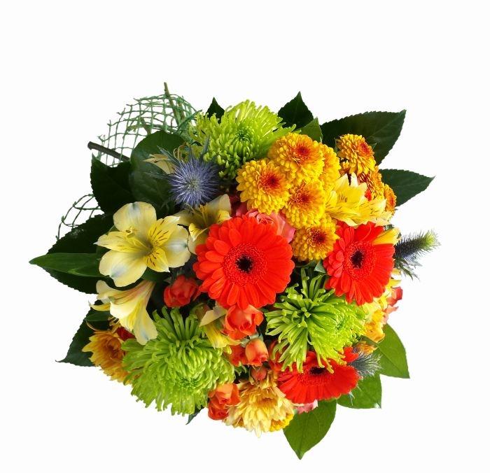 buchet de toamna gerbera, crizantema, alstroemeria